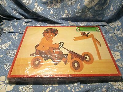 Vintage 1974 Germany Steeb Wood Inlay Hobby Art Craft Kit Sealed Child Go Kart