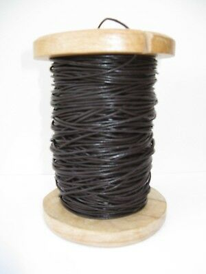 REAL LEATHER LACE ROUND CORD 2 mm diam. DARK BROWN/ BLACK/NATURAL - 2 METRE LONG