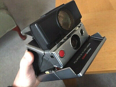 POLAROID SX-70 LAND CAMERA Sonar OneStep Black and Chrome  Good Condition