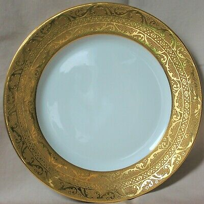 "Set of 12 Beautiful Limoges Gold Encrusted 10 1/2"" Dinner Plates French China"
