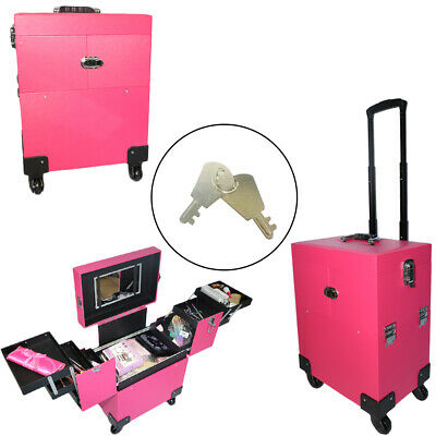 Portable Aluminum Cosmetic Makeup Case Tattoo Box with PVC Mirror Pink Rolling