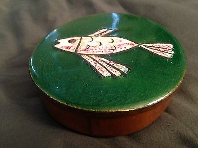 Vintage round wood box copper enamel lid with fish Scholz Lammel Schibensky era