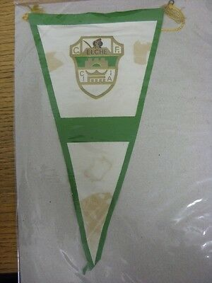 """circa 1960's Elche: Spain - Small Silk Style Pennant [Approx 11""""] Printed Both S"""