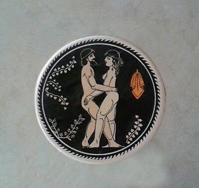 Ceramic Coasters 6x Ancient Greek Satire Scenes with case, mugs, Valentines gift