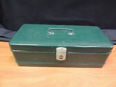 "Vintage Climax Green Metal Fishing Tackle or Tool Box 11"" x 5"" x 3.5"""