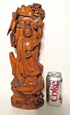 Antique Carved Chinese Boxwood Kwan-Yin Quan Yin Buddhism Statue Bird Lotus 15""