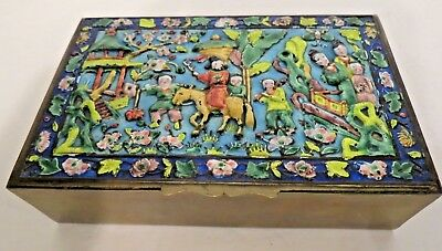 Antique Chinese Cloisonne Enamel Brass Pictorial Landscape Wedding? Trinket Box