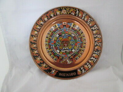 Copper Aztec Mexican Sun Calendar Mayan Enameled Plate Mexico Wall Hanging
