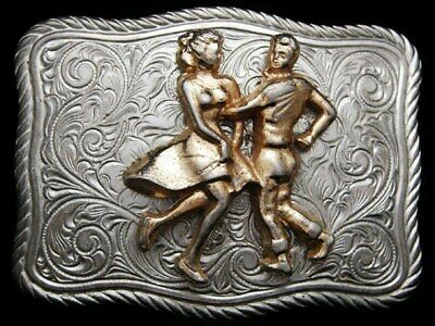 ID21105 GREAT VINTAGE 1970s ***COUPLE SQUARE DANCING*** SILVERTONE BUCKLE