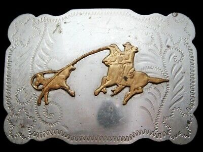 JJ07113 AWESOME VINTAGE 1970s JUSTIN **CALF ROPING COWBOY** NICKEL SILVER BUCKLE