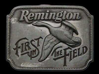 Jg09142 Vintage 1980 **Remington - First In The Field** Canada Goose Belt Buckle