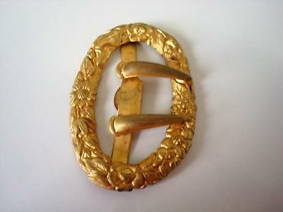 Vintage Antique Oval Brass Tone Flowers Sash Buckle 2 x 2 7/8 In. As Found