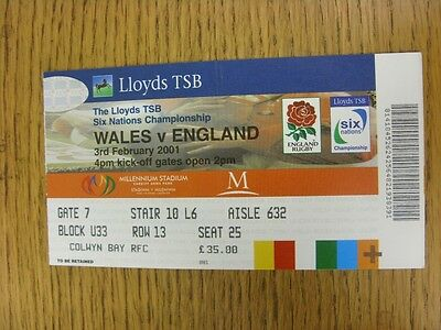 03/02/2001 Rugby Union Ticket: Wales v England [At Cardiff Arms Park] (folded).