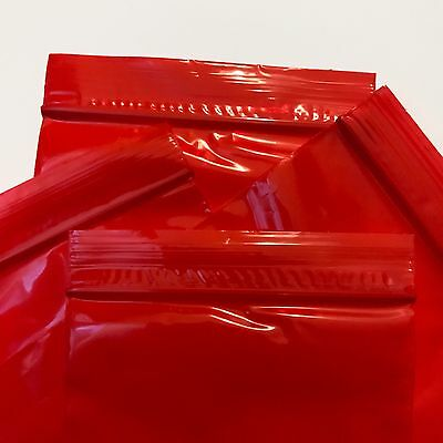 "5080 Semi Opaque Red Color Plastic 100 Ziplock Baggies 5"" X 8"" FDA USDA Poly"