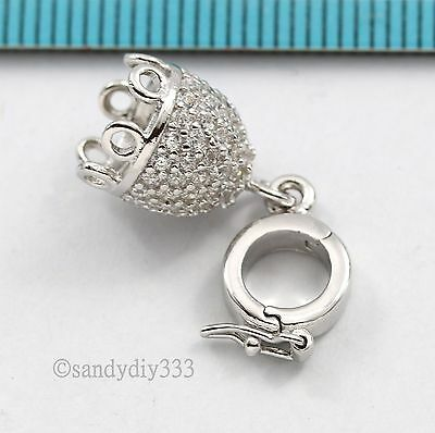 1x Rhodium plated STERLING SILVER CZ CHARM TASSEL CONNECTOR ENHANCER CLASP #2784