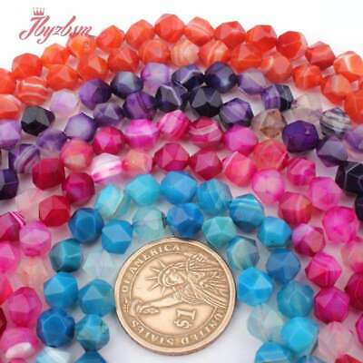 """8mm Round Cube Faceted Mixed Natural Stone Loose Beads for Jewelry Making 15""""DIY"""