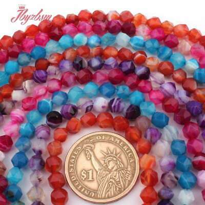 """6mm Round Cube Faceted Mixed Natural Stone Loose Beads For Jewelry Making 15""""DIY"""