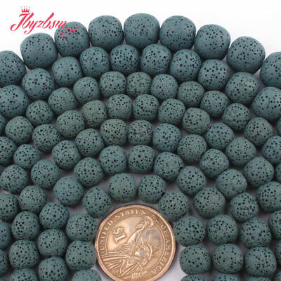 """6,8,10,12,14mm Round Lava Rock Volcanic Stone Loose Beads Spacer Strand 15""""DIY"""