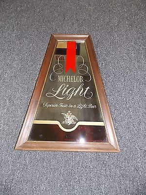 "MICHELOB LIGHT BEER- FRAMED-BAR MIRROR-Size approx. 20"" H x 7.5""- 14""W"
