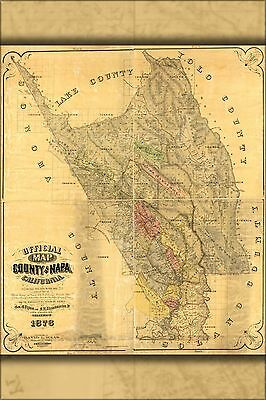 Poster, Many Sizes; Map Of The County Of Napa, California 1876 P1