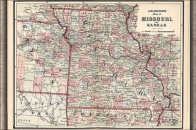Poster, Many Sizes; Map Of Missouri And Kansas 1863