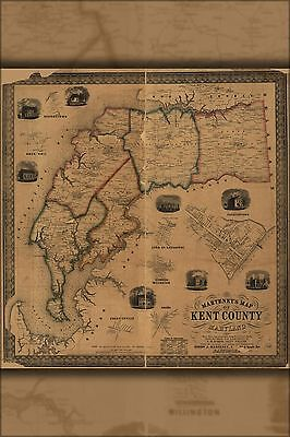 Poster, Many Sizes; Map Of Kent County, Maryland 1860
