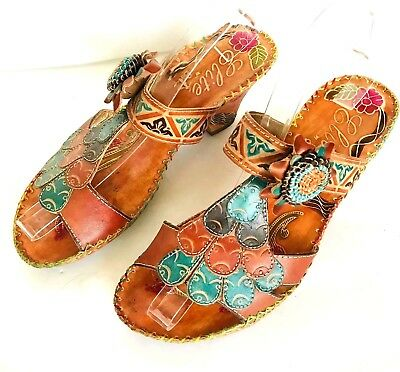 17a936ed6 Elite Corkys Navajo Handpainted Leather Wedge Sandals Multicolor Art To  Wear 8