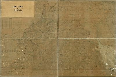 Poster, Many Sizes; Map Of Battle Fields Of Virginia 1861 To 1865