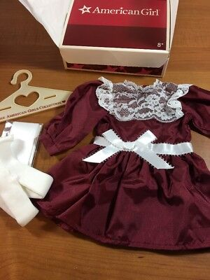 American Girl Doll Samantha's Cranberry Holiday Dress Stockings Hair Bow NEW