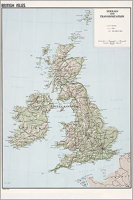 Poster, Many Sizes; Cia Map Of Great Britain; England Scotland Ireland 1961