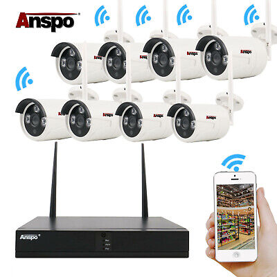 Anspo 8CH 1080P Full HD Wireless NVR Wifi Network IP Camera Home Security System