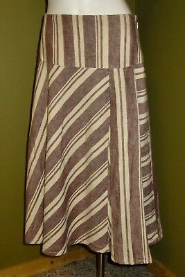 c2667a8def Womens GAP 100% LINEN Striped Full A Line SKIRT Ivory Brown Midi Size 6 S