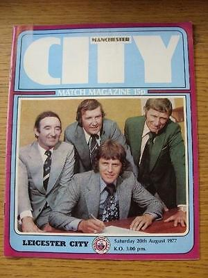 20/08/1977 Manchester City v Leicester City  (Team Changes). Item In very good c