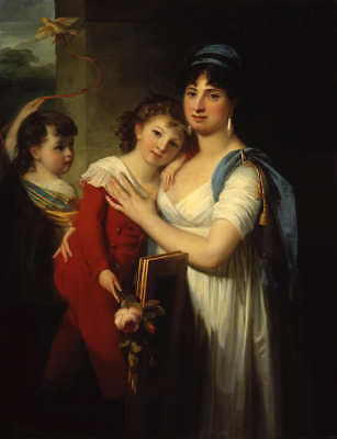 """oil painting handpainted on canvas""""a lady with her son and her daughter""""@14400"""