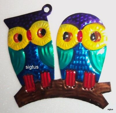 Mexican Hand Painted Tin PAIR OF OWLS Ornament! One of many designs! Brainiacs!