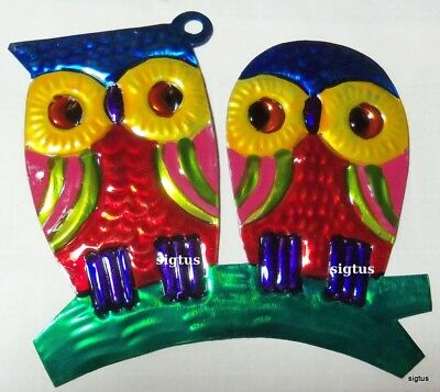 Mexican Hand Painted Tin PAIR OF OWLS Ornament! One of Two Blue Top Designs!