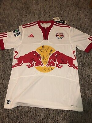 2635392168be6 Autographed Red Bull New York Adidas Climacool Men's Size L Soccer Jersey  MLS