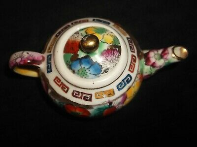 Sweet Miniature Highly Decorated Handpainted Gilded Teapot Oriental Chinese