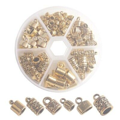 100PCS/ Box Antiqued Gold Metal Cord End Caps for Jewelry Making Leather Art