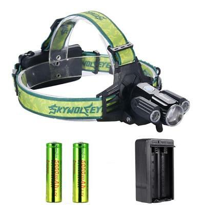 Zoomable  3X T6 LED USB Headlamp 35000LM Light Bike Torch +18650 +Charger DA