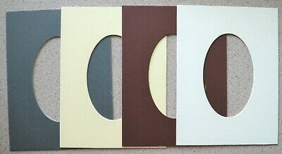 5 Die-Cut Picture Mounts 203 x 152mm - Oval Aperture 76 x 121mm 1400mic NEW