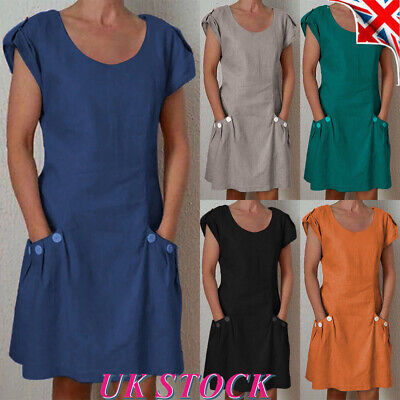 Plus Size Womens Linen Tunic Dress Ladies Loose Short Sleeve Summer A-Line Dress