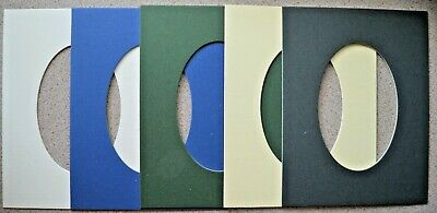 5 Die-Cut Picture Mounts 228 x 178mm - Oval Aperture 95 x 146mm 1400mic NEW