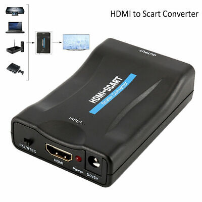 SCART TO HDMI Composite Video Scaler Converter Audio Adapter Upscale DVD SKY UK