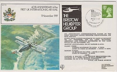 z2258) Great Britain. 1979 Used Flight Cover. 60th Anniversary 1st Int. Air Mail