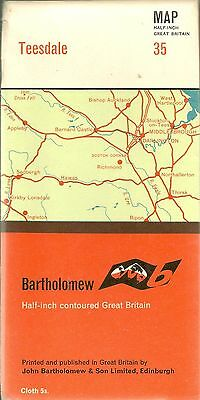 Bartholomews half-inch Map No 35 TEESDALE - CLOTH -1965