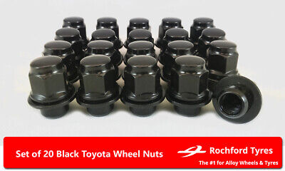 Black Original Style Wheel Nuts (20) 12x1.5 Nuts For Toyota Corona [Mk5] 73-79