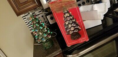 Vintage Classic Living Ceramic Christmas Tree Frosted Snow Lighted W/ Star & Box