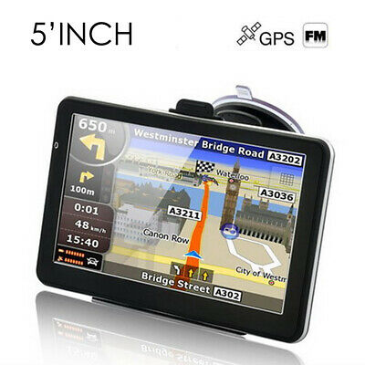 "Uk 5"" Car Gps Sat Nav Navigation System Tom Fm Poi Free Uk + Eu Maps Satnav"