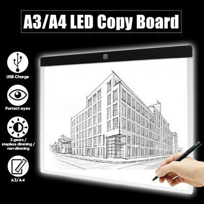 A4 / A3 LED Slim Art Drawing Craft Copy LED Light Box Board Pad with USB Cable